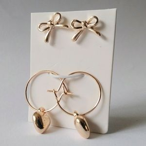 Rose gold earring set Bows hearts